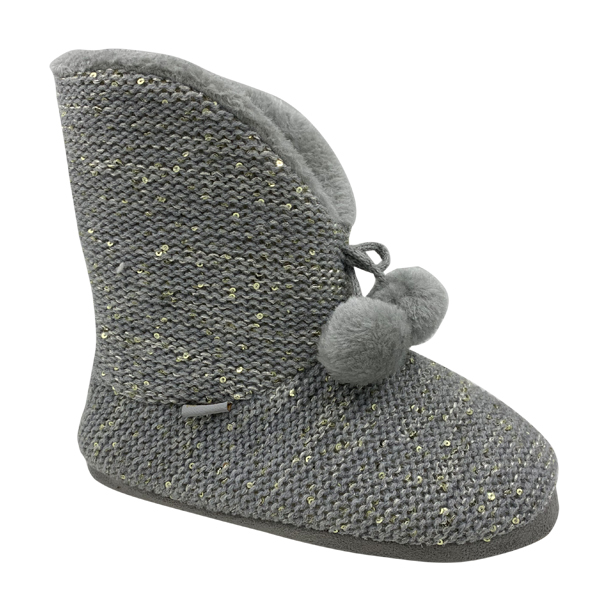 Warm Indoor Boots with Fur Ball Decoration